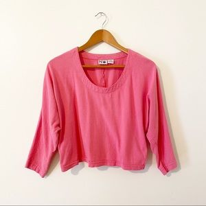 Vintage 80's Nuovo Pink 3/4 Sleeve Cotton Crop Top